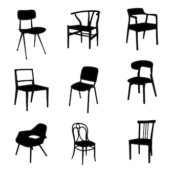 Nine silhouettes of chairs