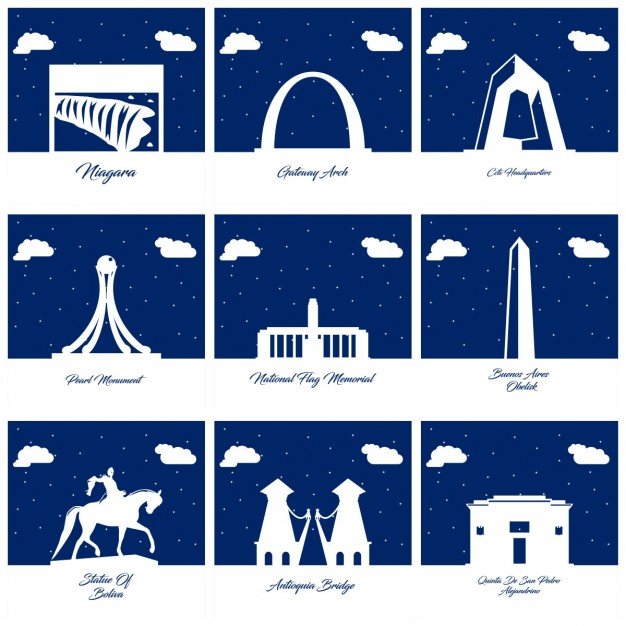 Nine silhouettes of monuments