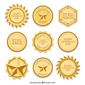 Nine veterans day medals