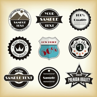 Nine vintage labels