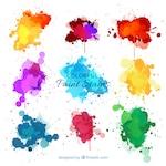 Nine watercolor splashes