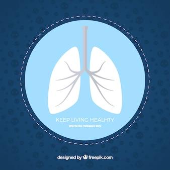 タバコの日の背景に肺がない