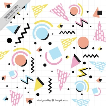 Notebook background with geometric shapes
