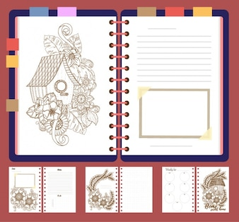 Notebook pages set