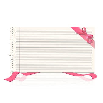 Notebook paper with ribbon