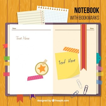 Notebook with bookmarks and accessories