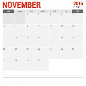 November Monthly Calendar 2016