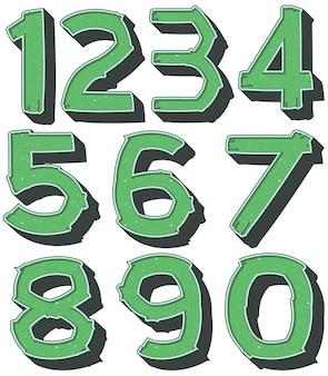 緑色の数字1〜0