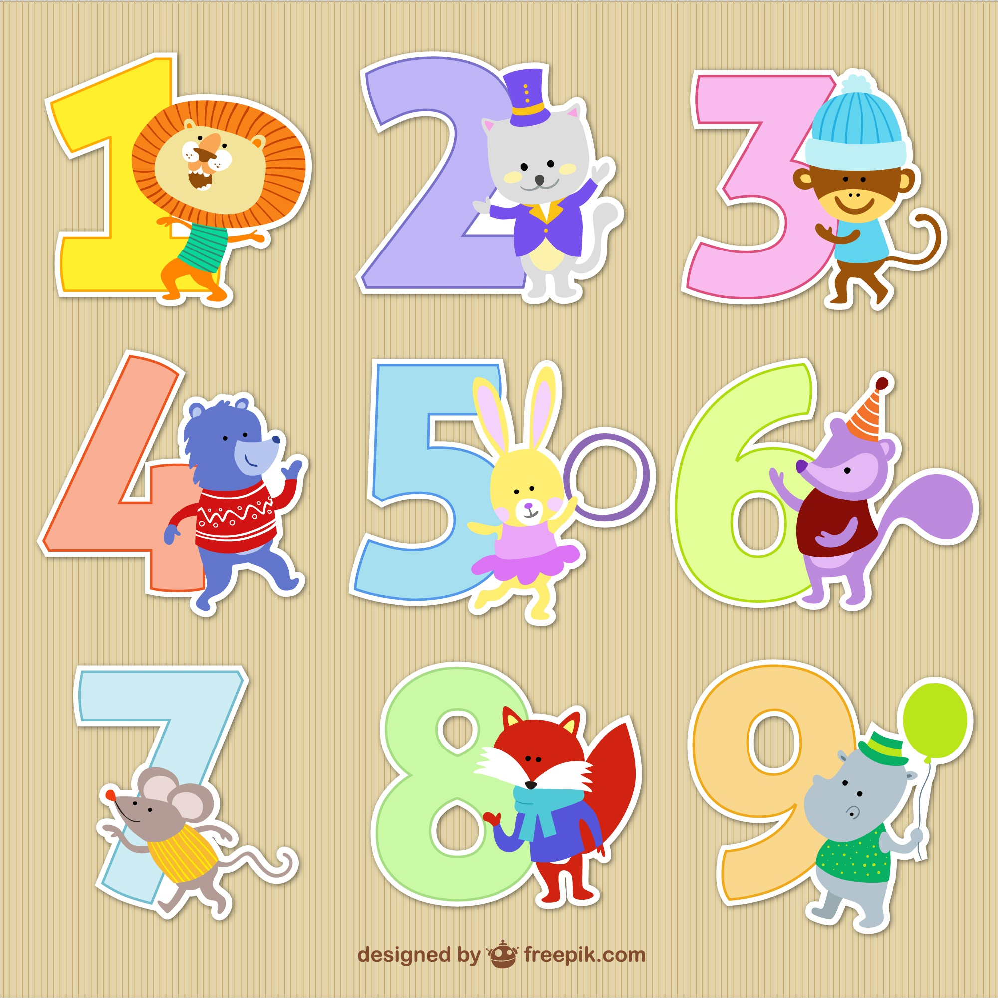Numbers with animal cartoons