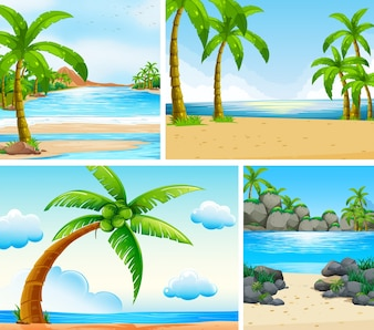 Ocean scene with coconut trees on beach illustration