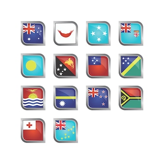 Oceanic flags icon collection