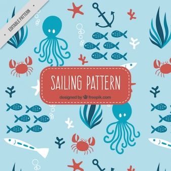 Octopus and fishes pattern