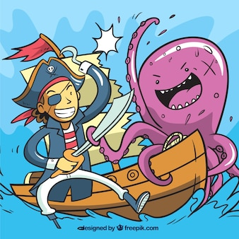 Octopus background and pirate on boat