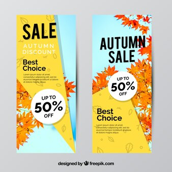 Offer banners for autumn, modern style