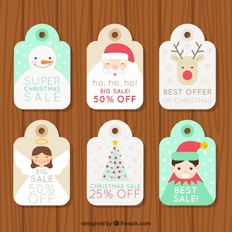 Offer labels collection of beautiful christmas characters