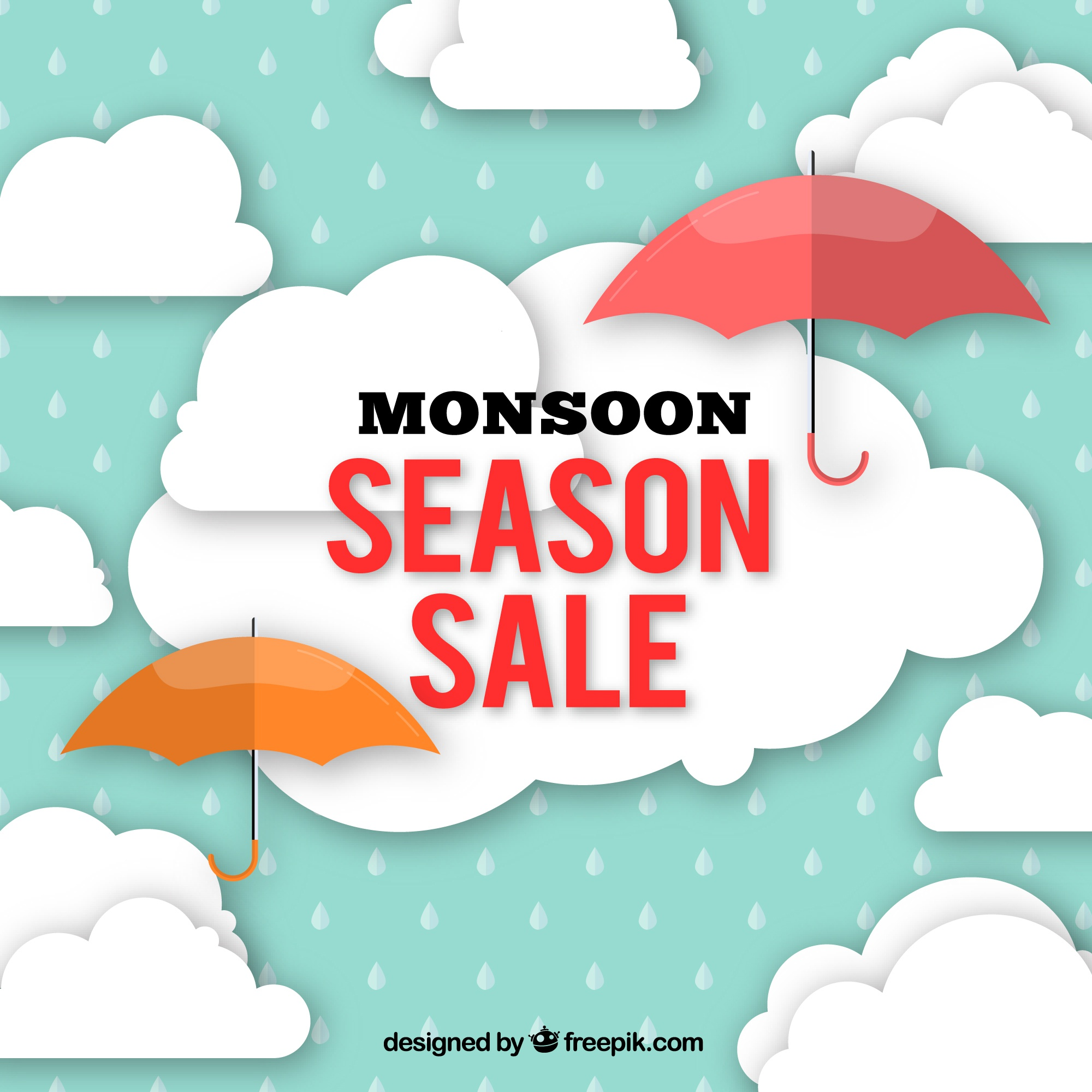 Offers of monsoon sales with umbrella and clouds in flat design