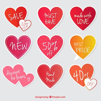 Offers stickers set with hearts shapes