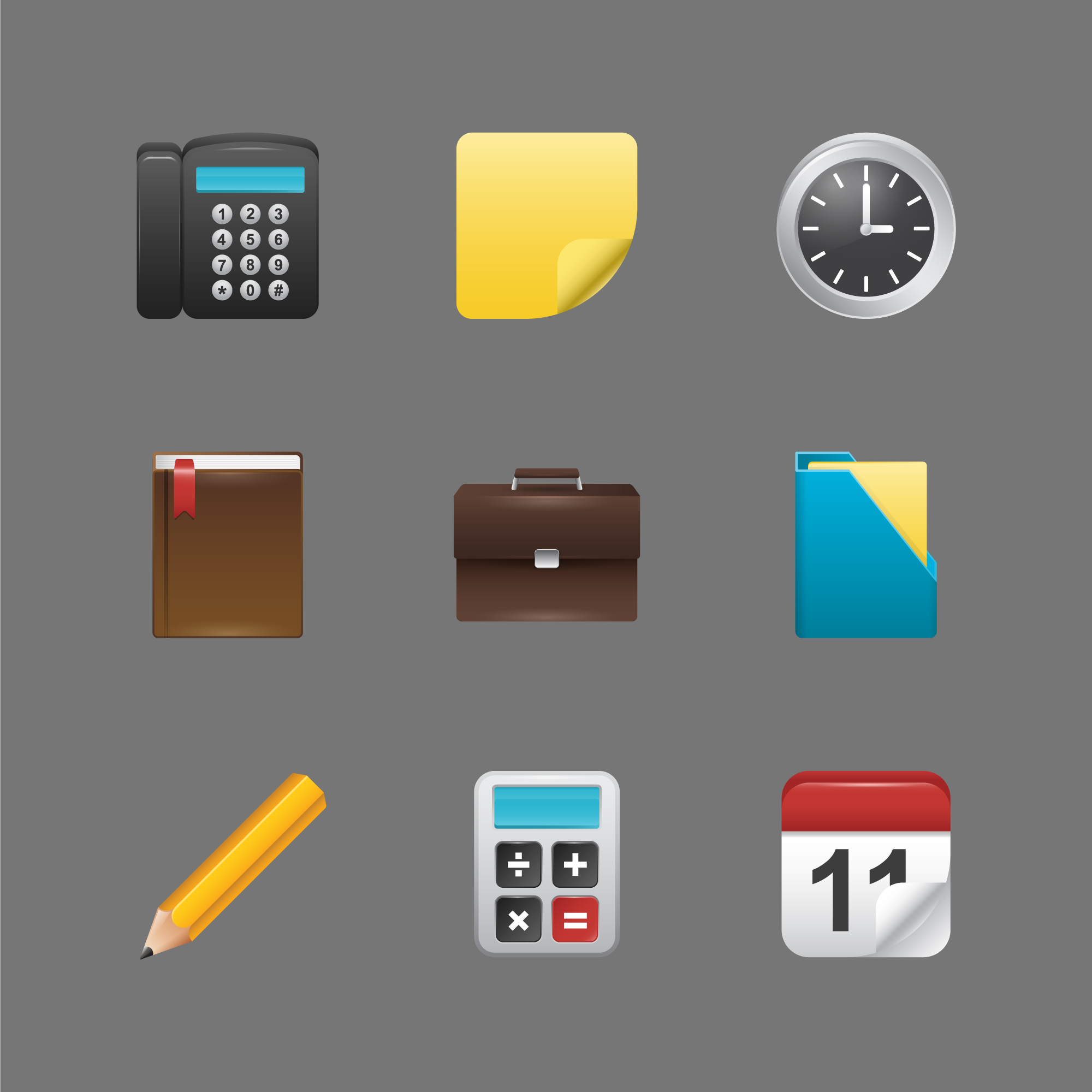 Office elements icon collection