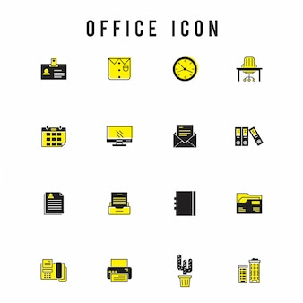 Office icon set, yellow