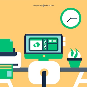 Office simple flat illustration