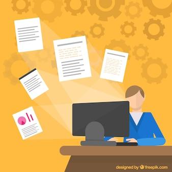 Office worker in flat design