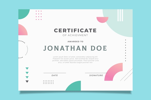 Official certificate design with memphis effect