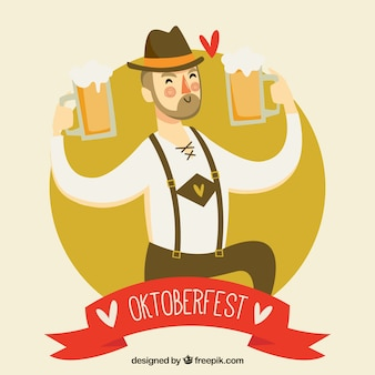 Oktoberfest, a gentleman with beers