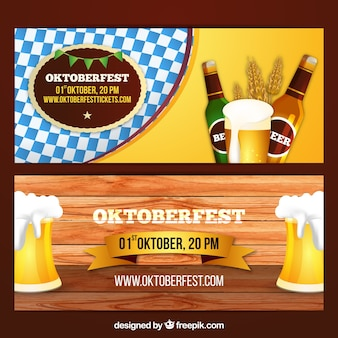 Oktoberfest banner with beers
