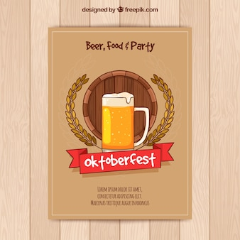 Oktoberfest party brochure with hand drawn beer
