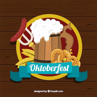 Oktoberfest party with beer, sausage and pretzel