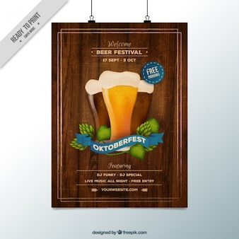 Oktoberfest poster with a wooden background
