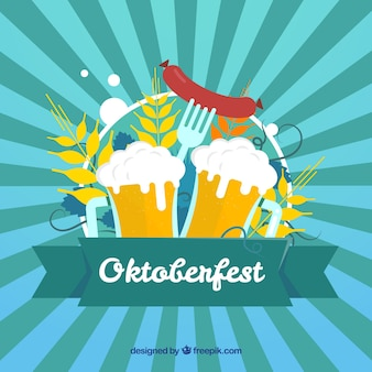 Oktoberfest sunburst background with beers and sausage