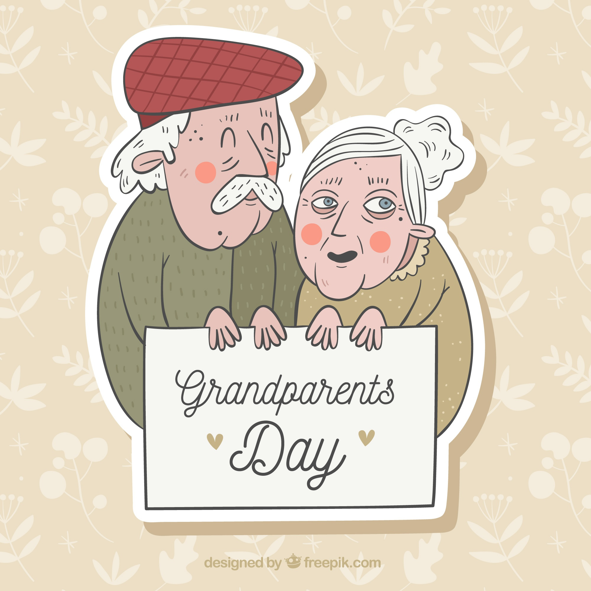 Old couple celebrating the grandparents day