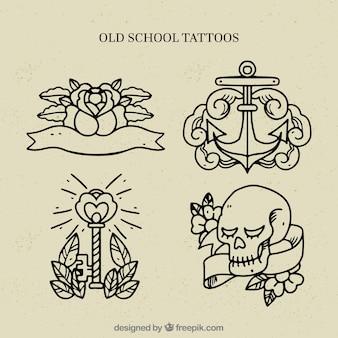 古い学校のラインタトゥーコレクション