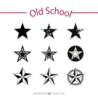 Old school stars vector set