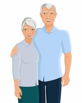Old senior people family couple portrait isolated on white background vector illustration