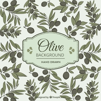 Olive background in hand-drawn style