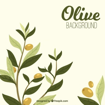 Olive background with leaves in green tones