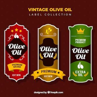 Olive oil labels in vintage style