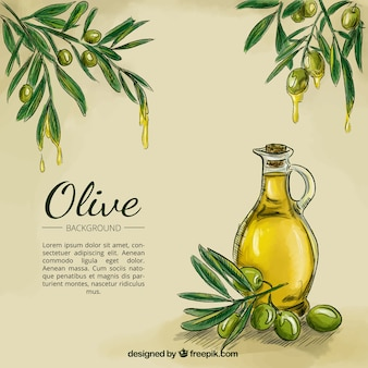 Olive oil sketch background