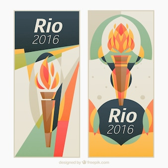 Olympic games banners with torch in abstract style