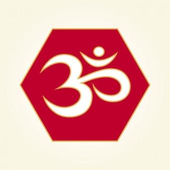 Om Symbol on a hexagon