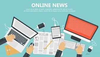 On line news concept