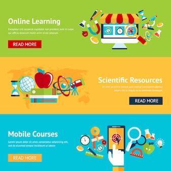 Online education banners in flat design