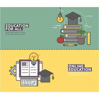 Online education banners set