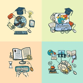 Online education e-learning science sketch icons set isolated vector illustration