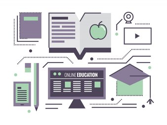 Online Education.  flat thin line design elements. vector illustration