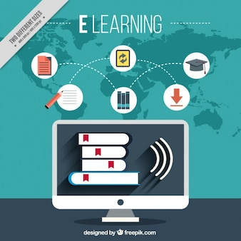 Online learning background with computer and icons