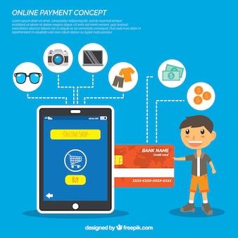 オンライン決済のコンセプト、青い背景