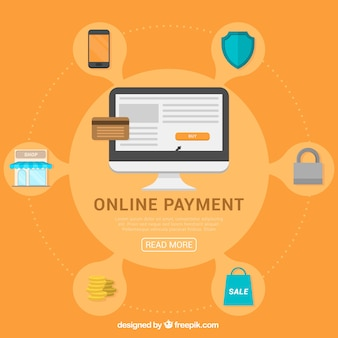 Online payment concept with icons